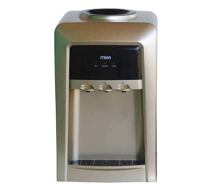 Mika Water Dispenser, Table Top, Hot, Normal & Cold, Electric cooling, Gold & Black