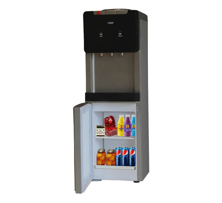 Water Dispenser With Refrigerator Compartment, Standing, Hot, Normal & Cold, Compressor Cooling, Silver & Dark Grey